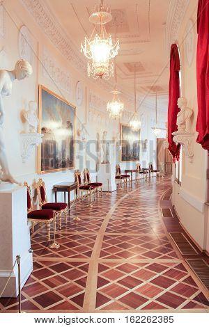 Gatchina, Russia - 3 December, Greek Interior Gallery Gatchina Palace, 3 December, 2016. Visit the Museum Reserve Gatchina Palace.