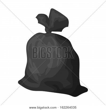 Garbage bag icon in monochrome style isolated on white background. Trash and garbage symbol vector illustration.