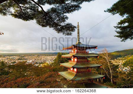 Mt. Fuji Inside The White Cloud With Chureito Pagoda In Maple Japan Autumn