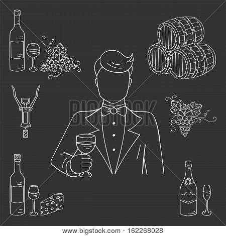 Young man tasting a glass of wine vector illustration hand drawn doodle sketch. Wine and wine making set sommelier, bottles, glasses, grapes, cheese, champagne, barrels, corkscrew on chalkboard.
