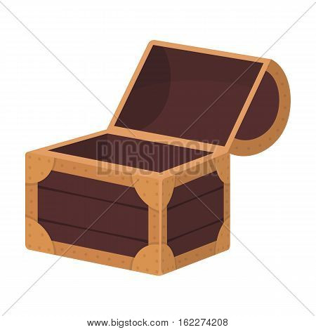 Pirate wooden chest icon in cartoon style isolated on white background. Pirates symbol vector illustration.