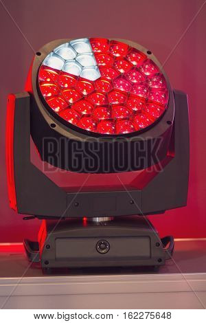 Lighting equipment for concerts close up. Industry