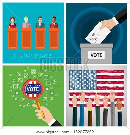 Concept of voting. US Presidential election 2016. Flat design, vector illustration