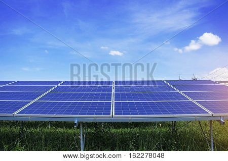 Solar panels with blue sky in Thailand.