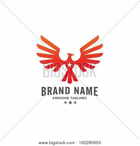 eagle Vector with star logo ,  eagle bird,  hawk logo illustration, phoenix and star logo concept