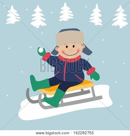 A little boy is sitting on the sledge. There are fir trees on the winter background. Vector illustration.