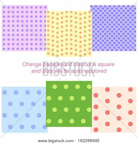 Set of six seamless backgrounds with auto recoloring dots patterns, eps10 vector illustration