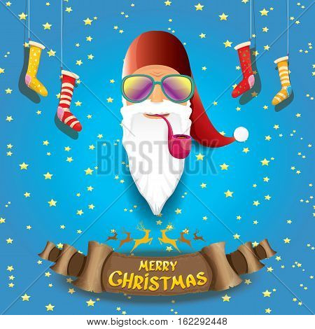 vector bad rock n roll dj santa claus with smoking pipe, funky beard and golden greeting calligraphic text on old vintage paper banner ribbon. Christmas party hipster poster background .