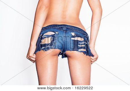 Wet ripped tiny denim booty shorts