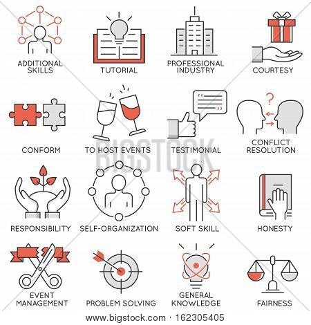 Vector set of flat linear icons related to business management strategy career progress and business process. Mono line flat pictograms and infographics design elements - 2