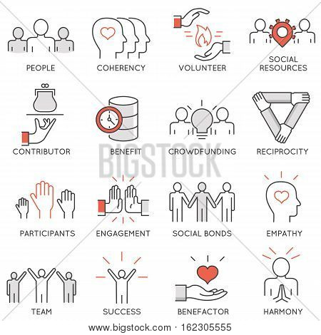 Vector set of 16 thin icons related to altruism benevolence human responsible and beneficence. Altruism Benevolence Icons. Mono line pictograms and infographics design elements