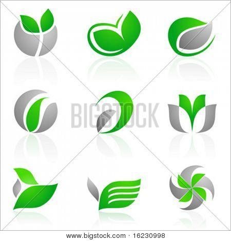 Vektor-Satz von 12 Fleurons in grünen und grauen Farbe