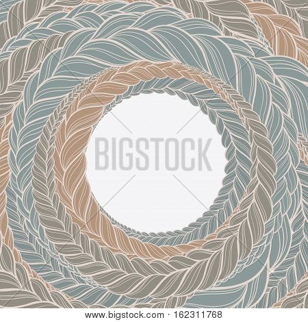 vector frame with braid hair color circle pattern
