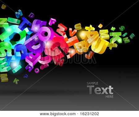 vector illustration with rainbow letters