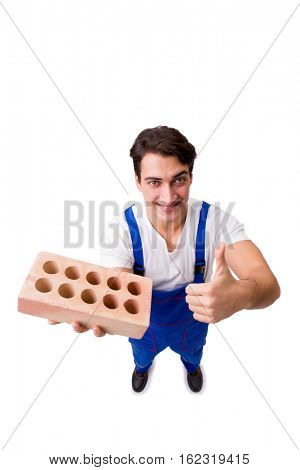Man with brick isolated on white