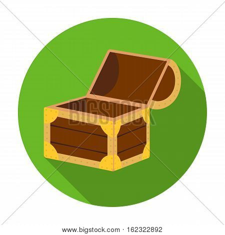 Pirate wooden chest icon in flat style isolated on white background. Pirates symbol vector illustration.