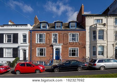 EXMOUTH UK 21 October 2016: historical building - Nelson House on Beacon Street. Exmouth. Devon. England