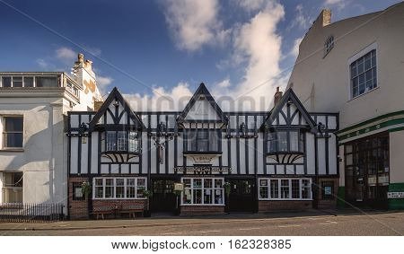 EXMOUTH UK 21 October 2016: EXMOUTH UK 21 October 2016: Historic building in the style of fachwerk in the Beacon Hill - Beacon Vaults. Exmouth. Devon. UK