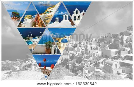 The collage from summer photos in Santorini island Greece