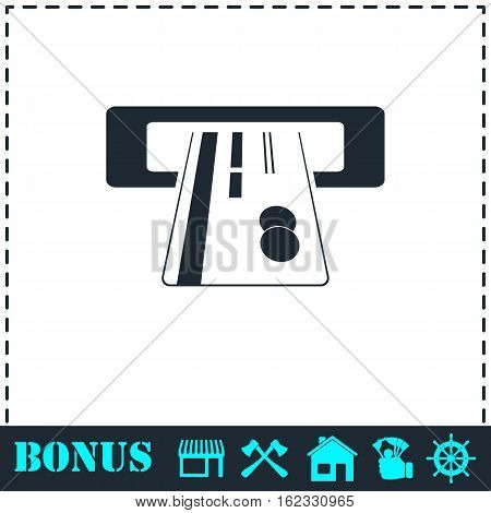 Atm cash icon flat. Simple vector symbol and bonus icon