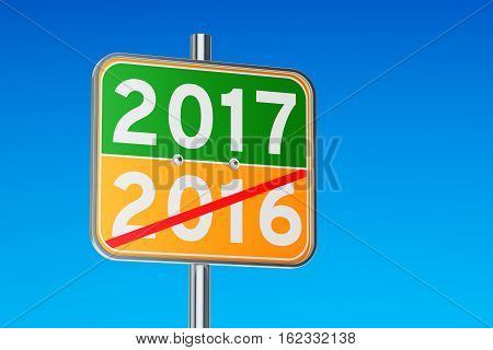 2017 concept on the road signpost 3D rendering