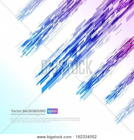 Abstract retro technology lines. Information transfer. Stream of information. Data transfer. Abstract techno background. Stock vector. eps 10