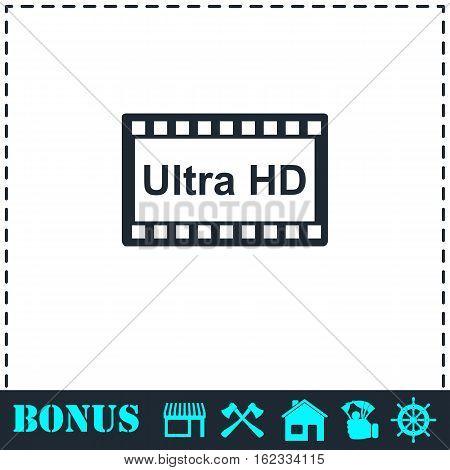 TV Ultra HD icon flat. Simple vector symbol and bonus icon