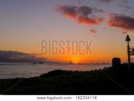 The sunset on the island of Maui in Hawaii