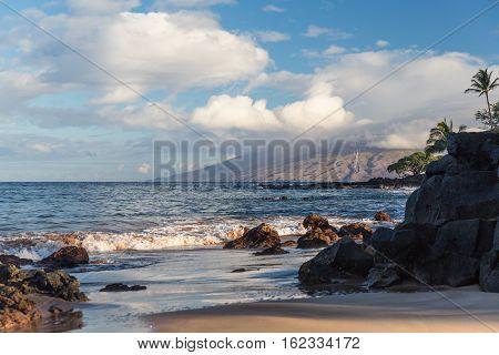 The beach and rocks in Hawaii Maui