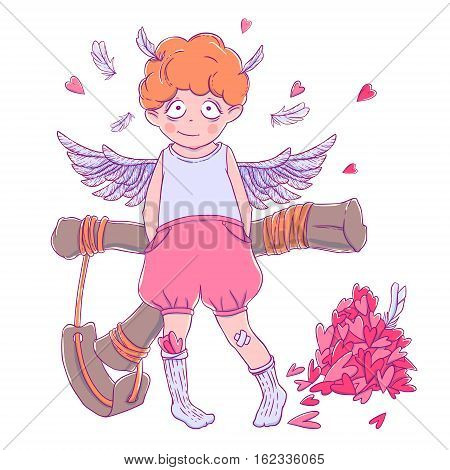 Valentine's day. Naughty cute curly Cupid-boy with slingshot behind his back, wings and a bunch of hearts. Vector illustration isolated on white. T-shirt printing