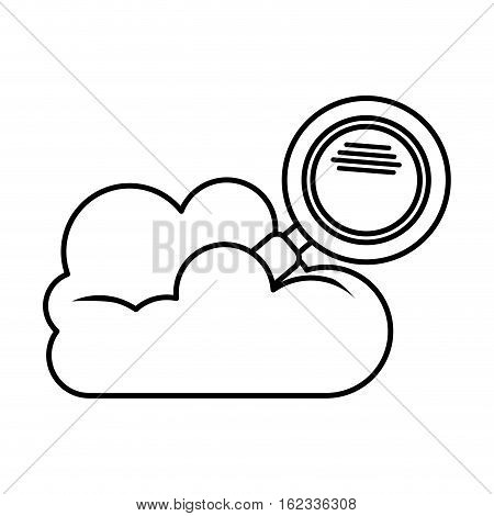 Cloud computing and lupe icon. Storage and technology theme. Isolated design. Vector illustration