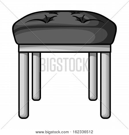 Stool icon in monochrome style isolated on white background. Furniture and home interior symbol vector illustration.