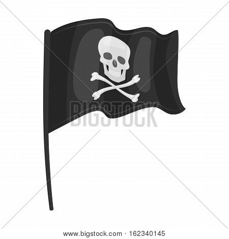 Pirate flag icon in monochrome style isolated on white background. Pirates symbol vector illustration.