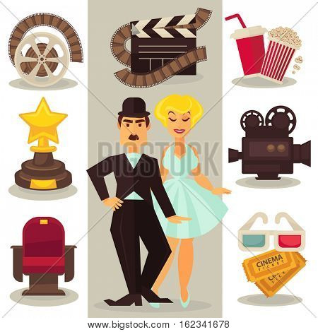 Set of cinema symbols and characters in retro style. Collection vintage media icons of film and entertainment: camera and reel, popcorn, 3d glasses and tickets, chair, clapper and star movies award.