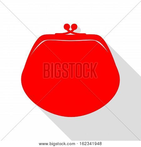 Purse Sign Illustration. Red Icon With Flat Style Shadow Path.