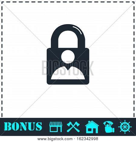 Authenticate icon flat. Simple vector symbol and bonus icon