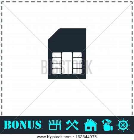 SIM card icon flat. Simple vector symbol and bonus icon