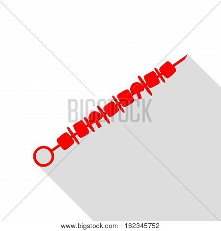Shish Kebab On Skewers Sign. Red Icon With Flat Style Shadow Pat