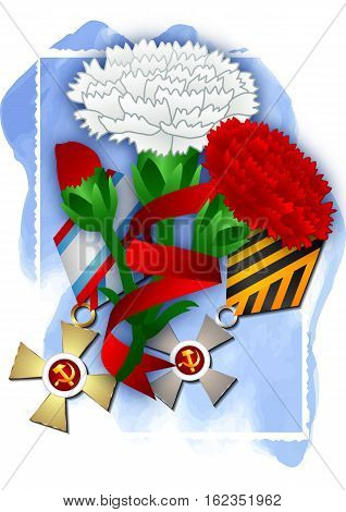Holiday greeting card with soviet awards and carnations on blue watercolor background for Defender of Fatherland day in February 23 or Victory day in May 9. Vector illustration