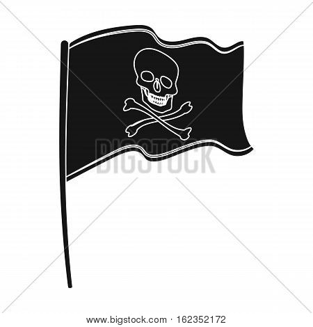 Pirate flag icon in black style isolated on white background. Pirates symbol vector illustration.