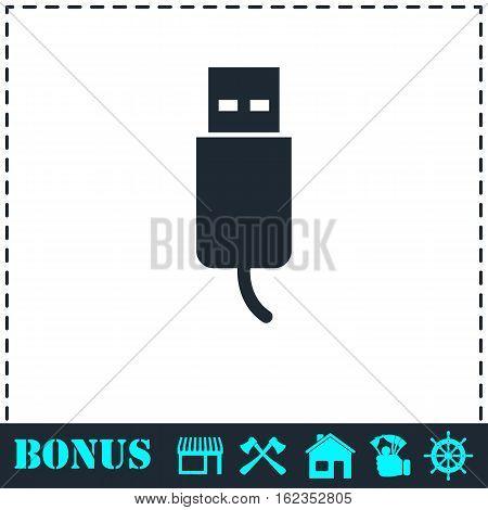 Usb plug icon flat. Simple vector symbol and bonus icon