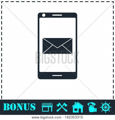Smartphone email or sms icon flat. Simple vector symbol and bonus icon