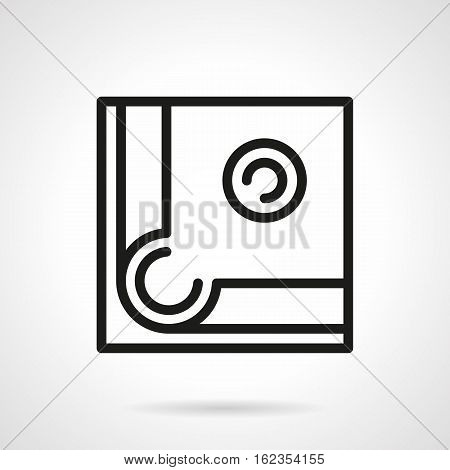 Abstract symbol of billiard. Close-up view of pool table corner with single ball near a hole. Aiming for good shot. Black simple line design vector icon.