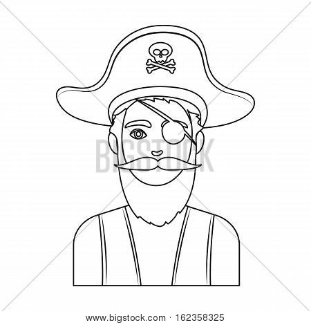 Pirate with eye patch icon in outline style isolated on white background. Pirates symbol vector illustration.