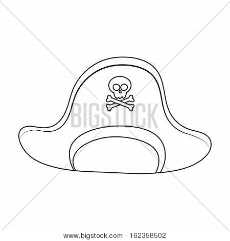 Pirate hat with skull icon in outline style isolated on white background. Pirates symbol vector illustration.