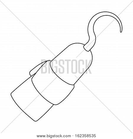 Pirate hook icon in outline style isolated on white background. Pirates symbol vector illustration.