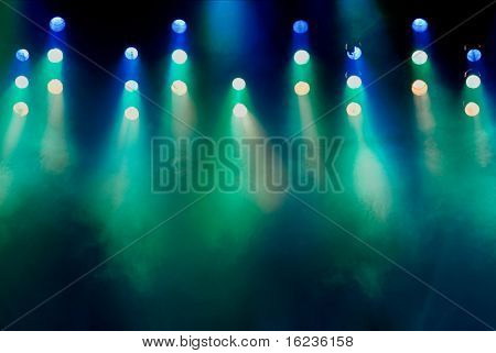 Stage lights and smoke machine