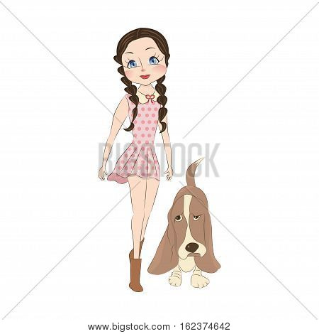 Cute little girl with her dog basset hound. Cartoon character for apparel or other uses in vector. T-shirt print or Book illustrations for children. Isolated on white background.