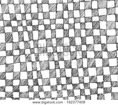 Vector hand drawn checkered pattern