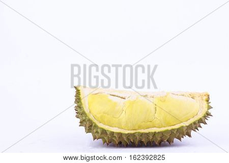 yellow durian  mon thong and durian peeled is  fruit plate tropical durian on white background healthy durian fruit food isolated